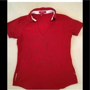 Ferrari Red V Neck Short Sleeve T-Shirt
